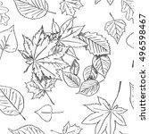 autumn leaves seamless...   Shutterstock .eps vector #496598467