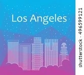 los angeles for banner  poster  ... | Shutterstock .eps vector #496599121