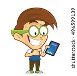 nerd geek holding tablet pc | Shutterstock .eps vector #496599139
