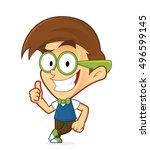 nerd geek leaning on an empty... | Shutterstock .eps vector #496599145