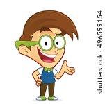 nerd geek presenting something | Shutterstock .eps vector #496599154