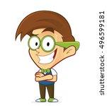 nerd geek with folded hands | Shutterstock .eps vector #496599181