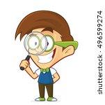 nerd geek holding a magnifying... | Shutterstock .eps vector #496599274