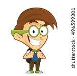 nerd geek with backpack | Shutterstock .eps vector #496599301