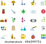 drugs   addictions color flat...   Shutterstock .eps vector #496599751
