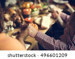 thanksgiving celebration... | Shutterstock . vector #496601209