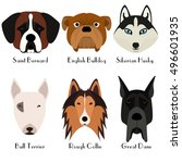 set of 6 dog's head. flat... | Shutterstock .eps vector #496601935