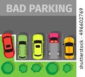 bad parking set. car parked... | Shutterstock .eps vector #496602769