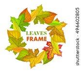 autumn leaves vector frame.... | Shutterstock .eps vector #496602805