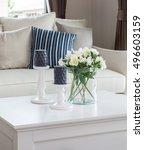 modern living room with glass... | Shutterstock . vector #496603159