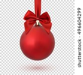 red christmas ball with ribbon... | Shutterstock .eps vector #496604299