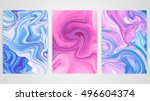 three paintings with marbling.... | Shutterstock .eps vector #496604374