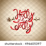 christmas greeting card. merry... | Shutterstock .eps vector #496605397