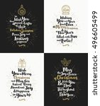 set of christmas greeting cards ... | Shutterstock .eps vector #496605499