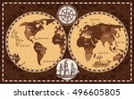 brown color retro nautical... | Shutterstock .eps vector #496605805