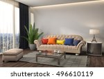 interior with sofa. 3d... | Shutterstock . vector #496610119
