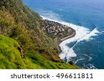town of jardim do mar  madeira...   Shutterstock . vector #496611811