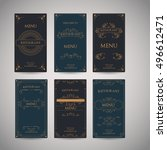 set of vintage luxury greeting... | Shutterstock .eps vector #496612471