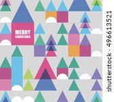 winter city seamless pattern   Shutterstock .eps vector #496613521