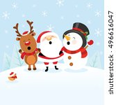 santa with snowman and reindeer | Shutterstock .eps vector #496616047