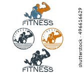 man and woman of fitness...   Shutterstock .eps vector #496616629