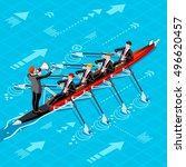 canoe rowing teamwork wins.... | Shutterstock .eps vector #496620457