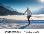 cross country skiing classic... | Shutterstock . vector #496622629