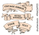 vintage ribbon banners  hand... | Shutterstock .eps vector #496626955
