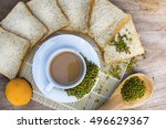 top view breakfast is served... | Shutterstock . vector #496629367