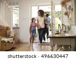 family in hallway returning... | Shutterstock . vector #496630447