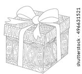 gift box with bow coloring book ... | Shutterstock .eps vector #496631521