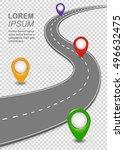 road way navigation infographic.... | Shutterstock .eps vector #496632475