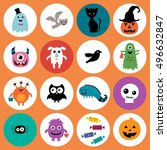 halloween circle collection. | Shutterstock .eps vector #496632847