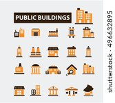 buildings icons | Shutterstock .eps vector #496632895