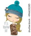 cute girl print t shirt print... | Shutterstock . vector #496633285