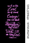 wait on the lord  be of good... | Shutterstock .eps vector #496637161