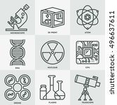 medical devices icon set. line... | Shutterstock .eps vector #496637611