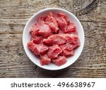 white bowl of raw diced beef... | Shutterstock . vector #496638967