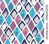 hand drawn rhombus seamless... | Shutterstock .eps vector #496641031