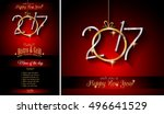 2017 happy new year restaurant... | Shutterstock . vector #496641529