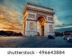 triumphal arch. paris. france.... | Shutterstock . vector #496643884