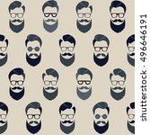 bearded hipster seamless... | Shutterstock .eps vector #496646191