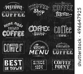 set of vintage retro coffee... | Shutterstock .eps vector #496647925