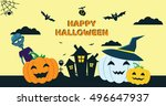 halloween concept banner with... | Shutterstock . vector #496647937