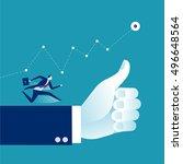 thumbs up   success. business... | Shutterstock .eps vector #496648564