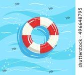 classic life preserver ring... | Shutterstock .eps vector #496648795