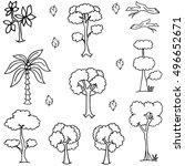 hand draw tree icon set of