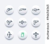 weapons line icons set ...