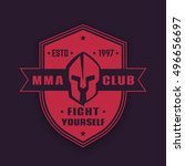 mma club vintage emblem  badge  ... | Shutterstock .eps vector #496656697