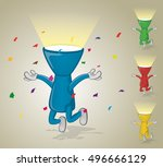 jumping flashlight with confetti | Shutterstock .eps vector #496666129
